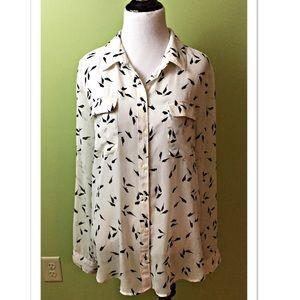 Old Navy Sheer Button Down Bird Print Shirt Size L